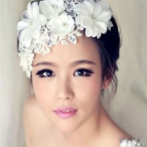 White Pear Lace Floral Wedding Bridal Hair Piece